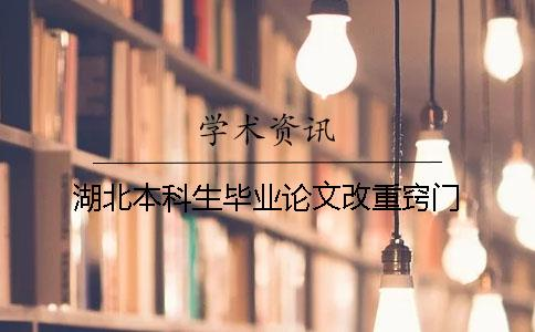 湖北本科生毕业论文改重窍门